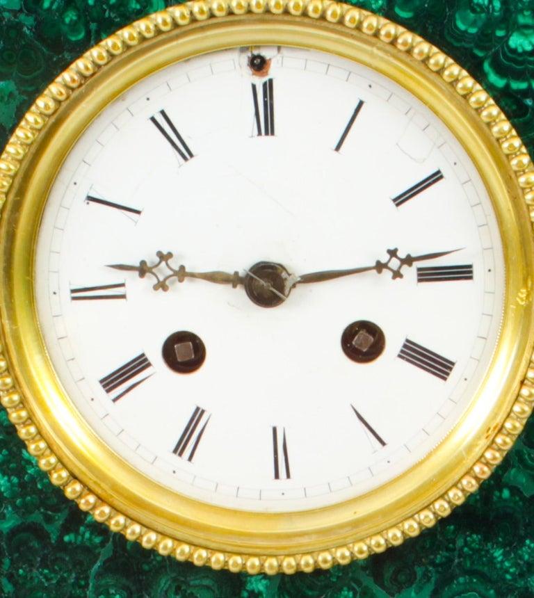 Antique Malachite Ormolu & Bronze Mantel Clock Silk Suspension Movement, 19th C For Sale 6