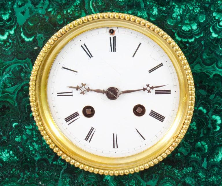 Antique Malachite Ormolu & Bronze Mantel Clock Silk Suspension Movement, 19th C For Sale 7