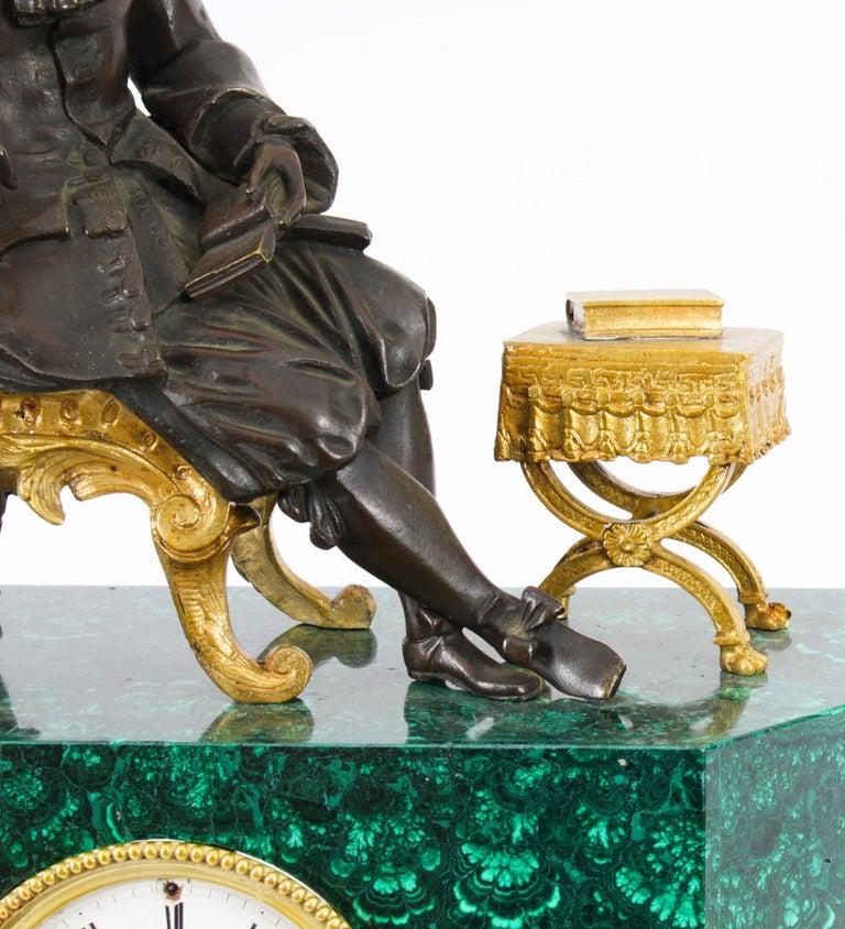 Antique Malachite Ormolu & Bronze Mantel Clock Silk Suspension Movement, 19th C For Sale 8