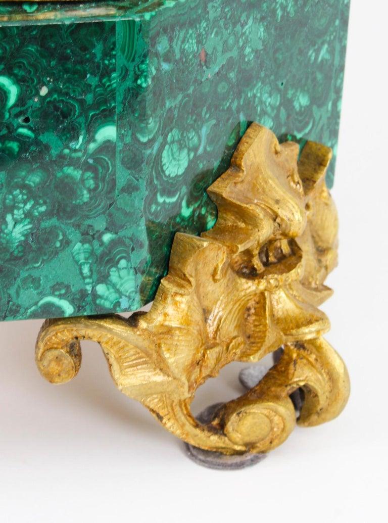 Antique Malachite Ormolu & Bronze Mantel Clock Silk Suspension Movement, 19th C For Sale 9