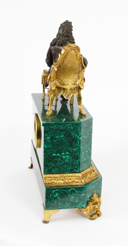 Antique Malachite Ormolu & Bronze Mantel Clock Silk Suspension Movement, 19th C For Sale 10
