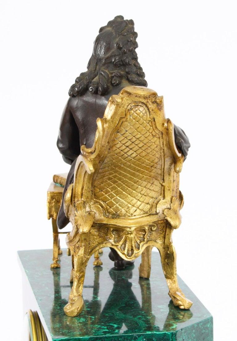 Antique Malachite Ormolu & Bronze Mantel Clock Silk Suspension Movement, 19th C For Sale 11