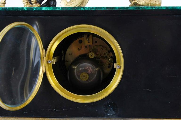 Antique Malachite Ormolu & Bronze Mantel Clock Silk Suspension Movement, 19th C For Sale 12