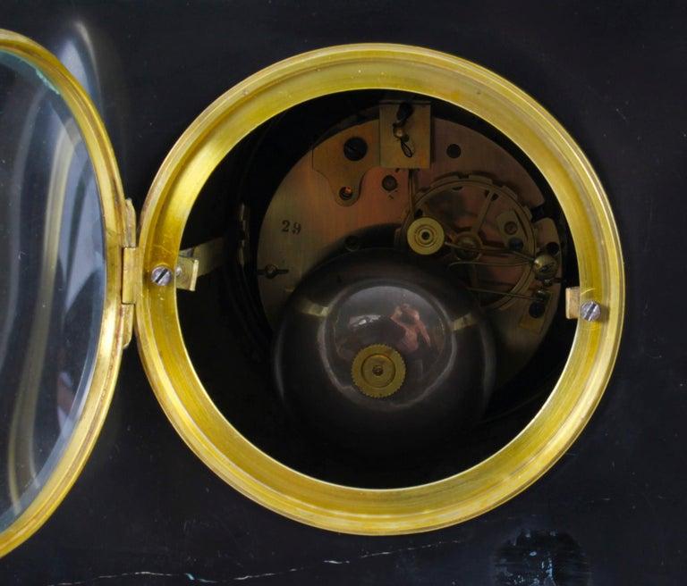 Antique Malachite Ormolu & Bronze Mantel Clock Silk Suspension Movement, 19th C For Sale 13