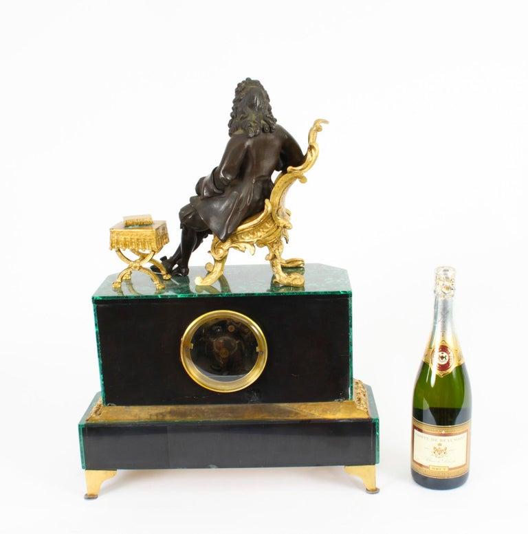 Antique Malachite Ormolu & Bronze Mantel Clock Silk Suspension Movement, 19th C For Sale 14