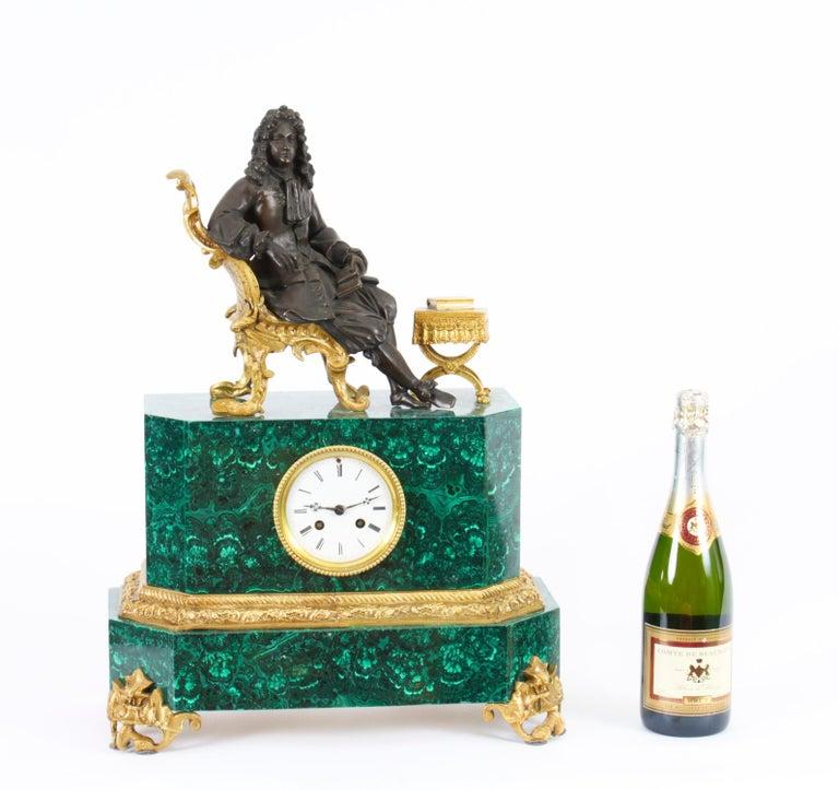 Antique Malachite Ormolu & Bronze Mantel Clock Silk Suspension Movement, 19th C For Sale 15