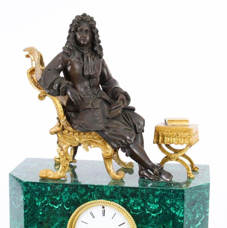 French Antique Malachite Ormolu & Bronze Mantel Clock Silk Suspension Movement, 19th C For Sale