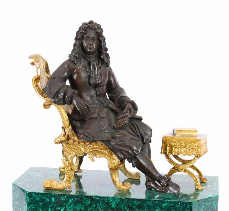 Antique Malachite Ormolu & Bronze Mantel Clock Silk Suspension Movement, 19th C In Good Condition For Sale In London, GB