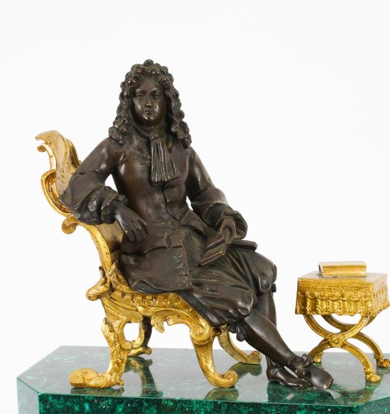 Mid-19th Century Antique Malachite Ormolu & Bronze Mantel Clock Silk Suspension Movement, 19th C For Sale