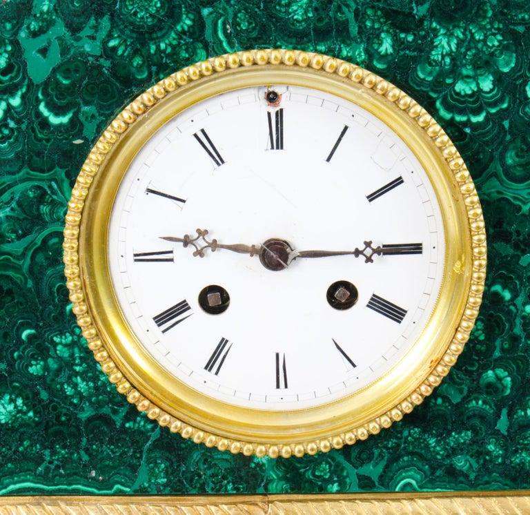 Antique Malachite Ormolu & Bronze Mantel Clock Silk Suspension Movement, 19th C For Sale 1