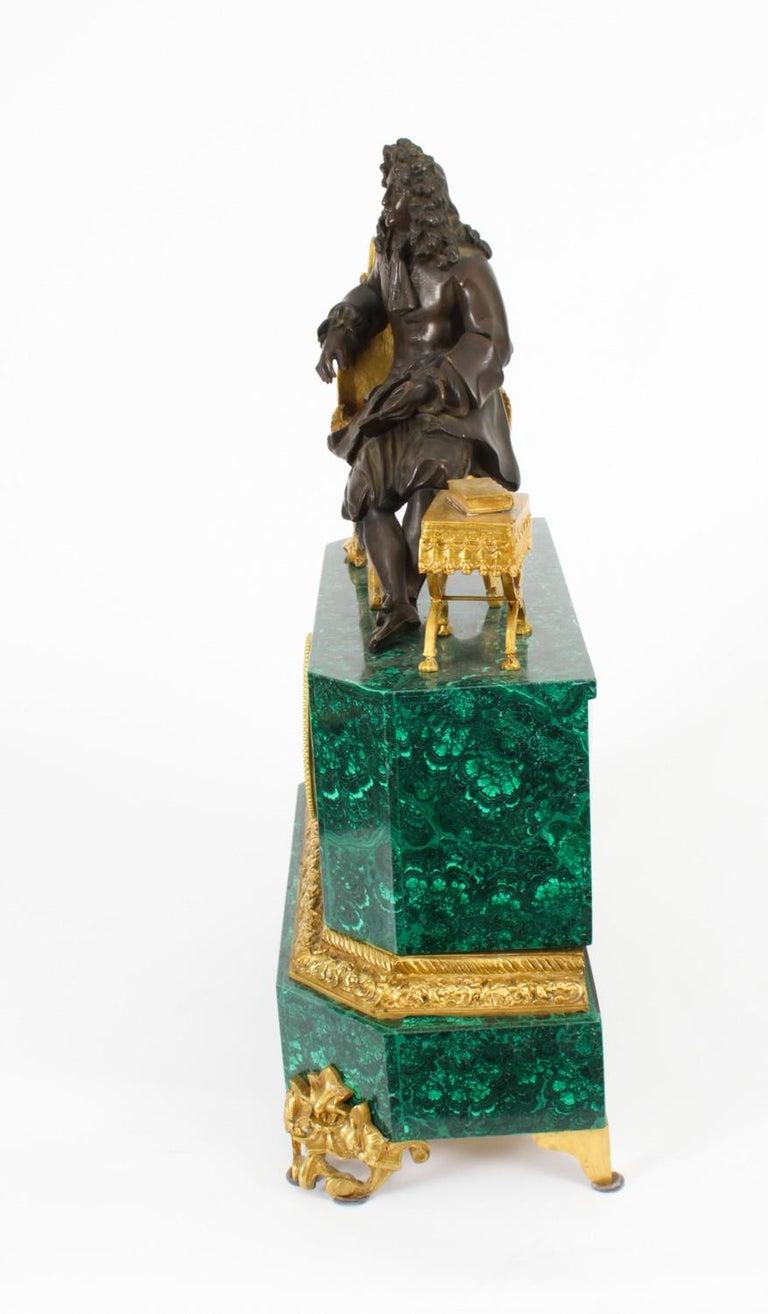 Antique Malachite Ormolu & Bronze Mantel Clock Silk Suspension Movement, 19th C For Sale 3
