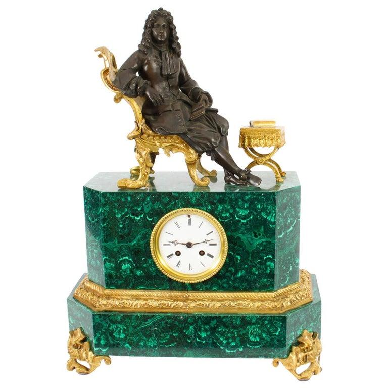 Antique Malachite Ormolu & Bronze Mantel Clock Silk Suspension Movement, 19th C For Sale