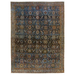 Antique Malayer Handmade Blue and Brown Floral Pattern Wool Rug