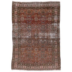 Antique Malayer Rug, Rust Allover Field, Lightly Distressed