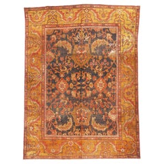 Antique Malayer Traditional Persian Red and Gold Wool Rug