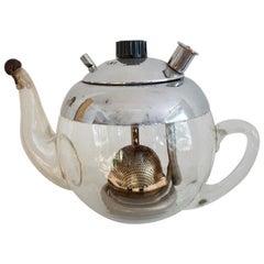 Antique Mandarin Glass Teapot from Elekthermax, 1940s Hungary Bauhaus