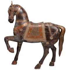 Antique Mango Wood Painted Horse from Delhi, India