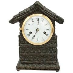 Antique Mantel Clock by Grant, Log Cabin Design