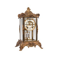 Antique Mantel Clock, French, Gilt Bronze, Ormolu, Brocot Escapement, circa 1900