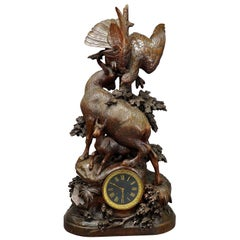 Antique Mantel Clock with Eagle and Chamois Family, circa 1900