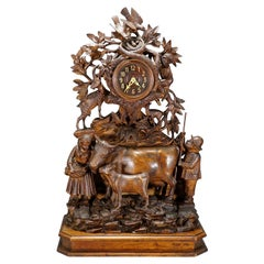 Antique Mantel Clock with Herdsman Family, Goats and Cows