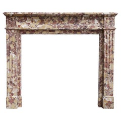 Antique Mantel from Breche d'Alep Marble of France, Louis XVI Style