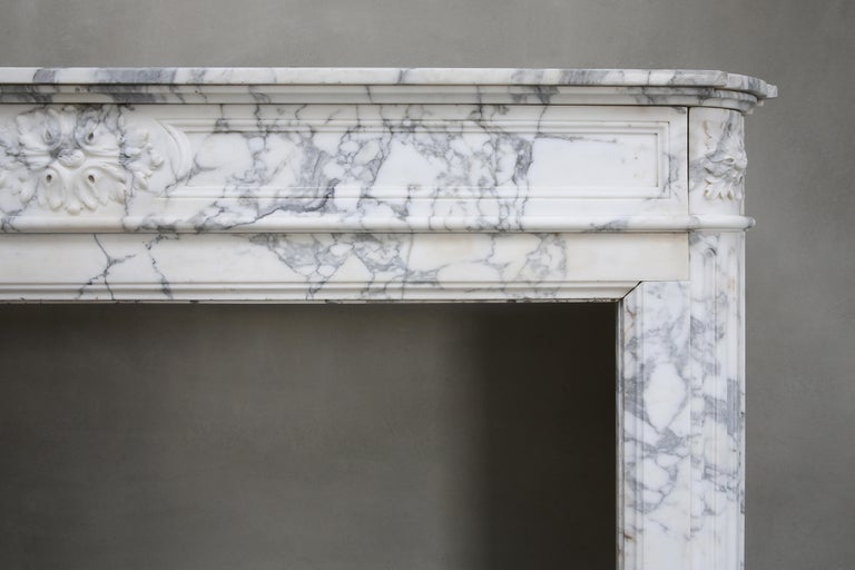 French Antique Mantel of Arabescato Marble from Italy in Style of Louis XVI For Sale