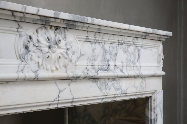 19th Century Antique Mantel of Arabescato Marble from Italy in Style of Louis XVI For Sale