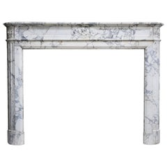 Antique Mantel of Arabescato Marble from Italy in Style of Louis XVI