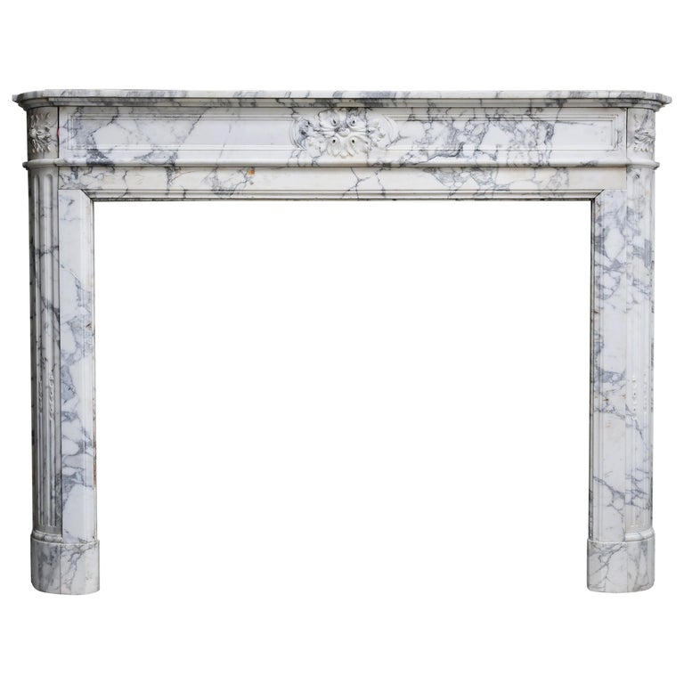 Antique Mantel of Arabescato Marble from Italy in Style of Louis XVI For Sale