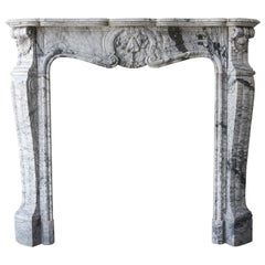Antique Mantel of Bleu Fleuri Marble in Style of Louis XV from 1880