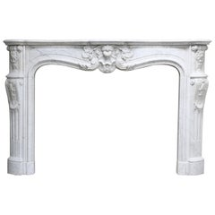 19th Century Louis XV Carrara Marble Fireplace