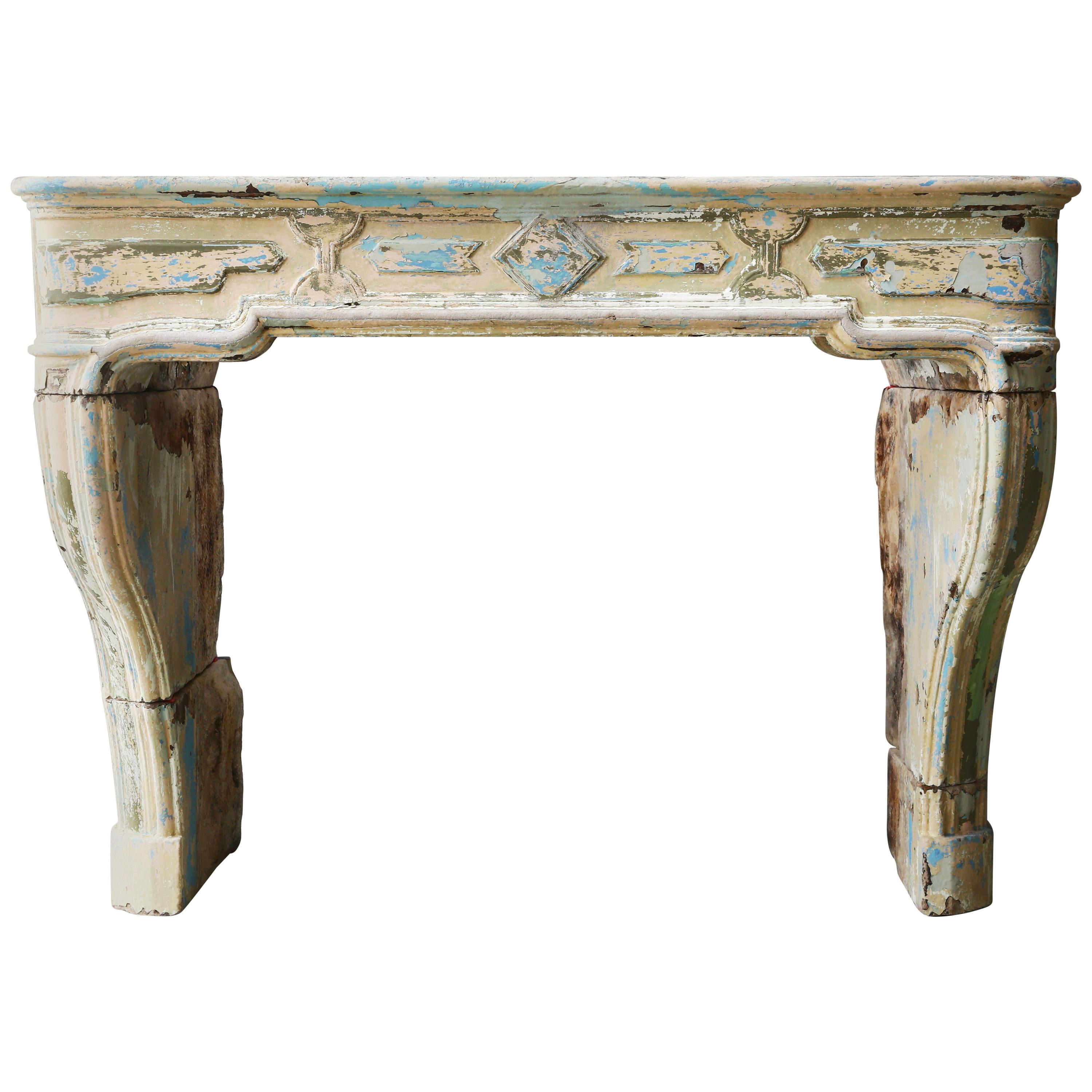 Antique Mantel Piece of French Limestone from the 19th Century