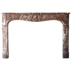 Antique Mantel Piece of Rouge Royal Marble in Style of Louis XV