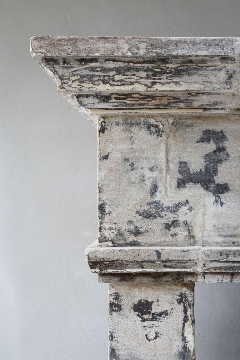 Antique Mantelpiece from the 19th Century, French Limestone, Campagnarde Style For Sale 6