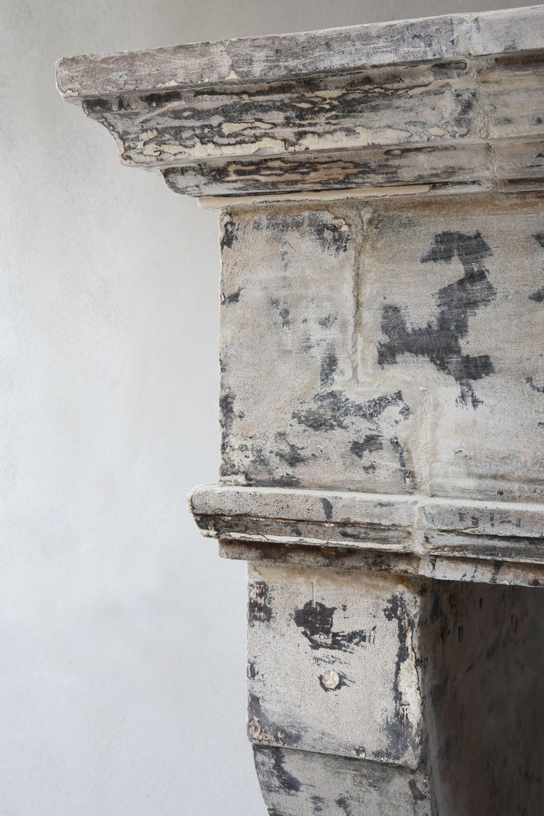 Antique Mantelpiece from the 19th Century, French Limestone, Campagnarde Style For Sale 7