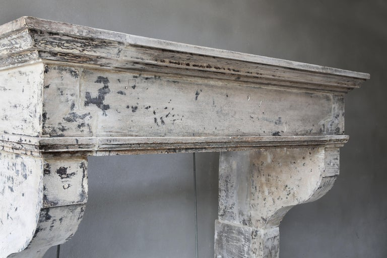 Antique Mantelpiece from the 19th Century, French Limestone, Campagnarde Style For Sale 8