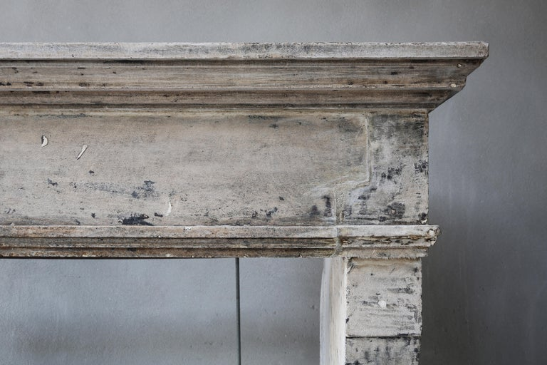 Other Antique Mantelpiece from the 19th Century, French Limestone, Campagnarde Style For Sale