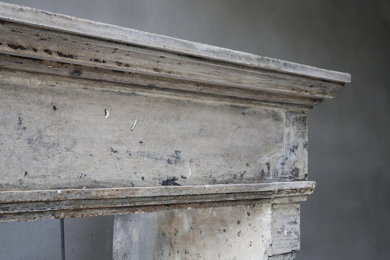 Antique Mantelpiece from the 19th Century, French Limestone, Campagnarde Style For Sale 1