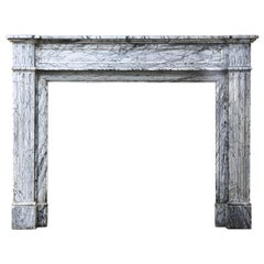 Antique Mantelpiece of Blue Fleuri Marble from the 19th Century, Louis XVI