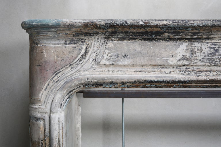 Antique Mantelpiece of French Limestone, Louis XIV Style, 19th Century For Sale 1