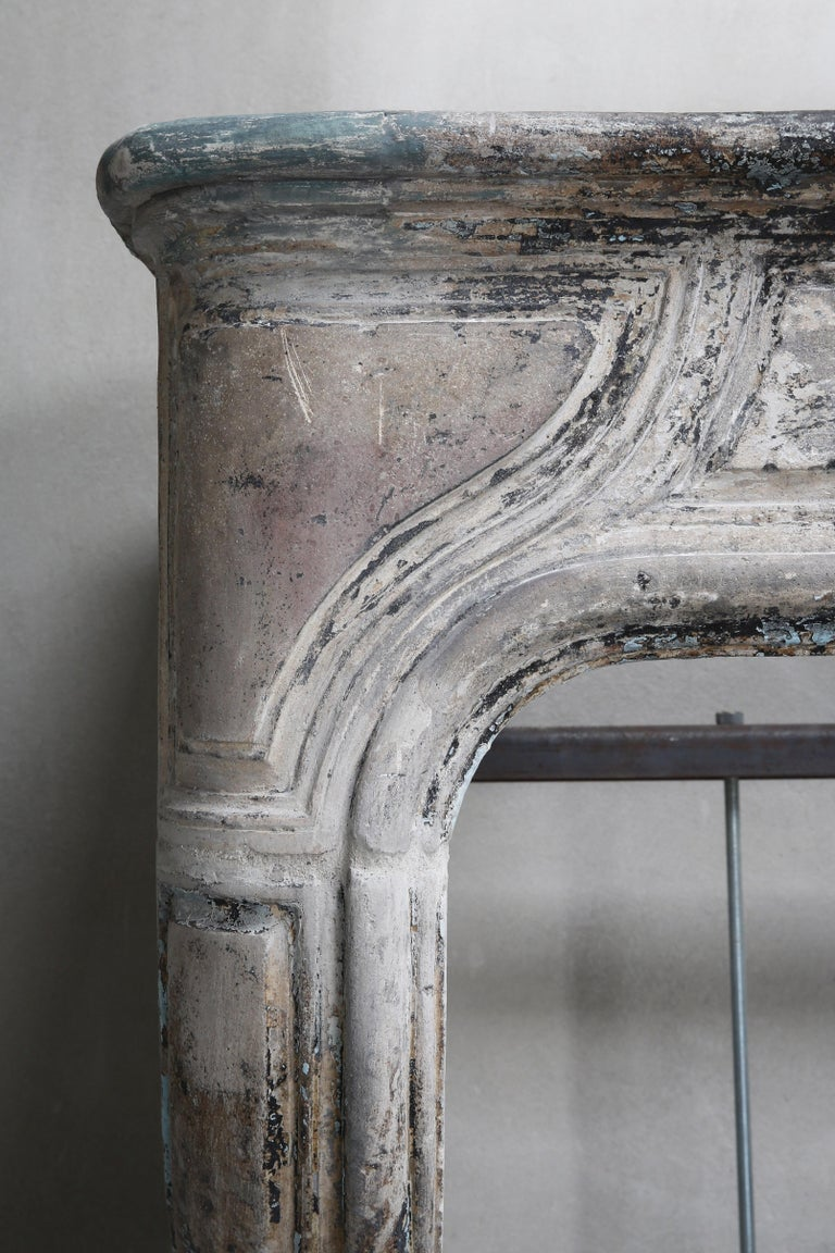 Antique Mantelpiece of French Limestone, Louis XIV Style, 19th Century For Sale 5