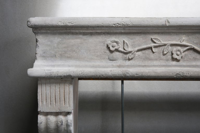 Antique Mantelpiece of French Limestone, Louis XVI Style, 19th Century For Sale 2