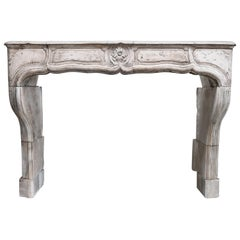 19th Century Limestone Fireplace Mantel from France