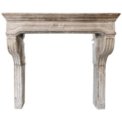 Antique Mantle of French Limestone in Campagnarde Style from the 19th Century