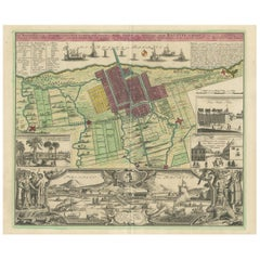 Antique Map and Views of Batavia by Homann Heirs, '1733'