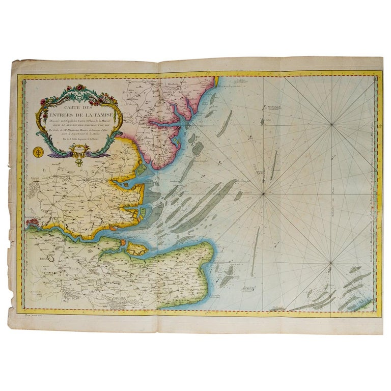 """Antique Map """"Estuary- Mouth of the Thames"""" For Sale"""