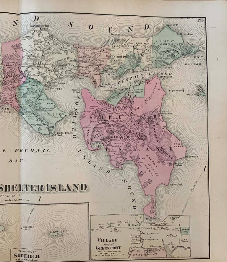 American Antique Map Long Island, Southold, Shelter Island, Orient, New York For Sale