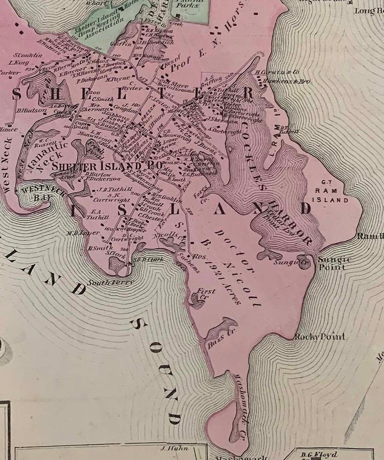 Antique Map Long Island, Southold, Shelter Island, Orient, New York In Good Condition For Sale In Sag Harbor, NY