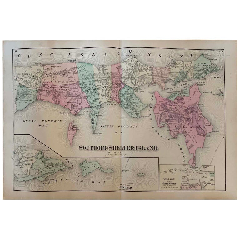 Antique Map Long Island, Southold, Shelter Island, Orient, New York For Sale